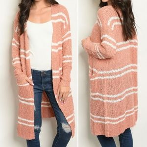 IVORY & SALMON KNIT SWEATER CARDIGAN